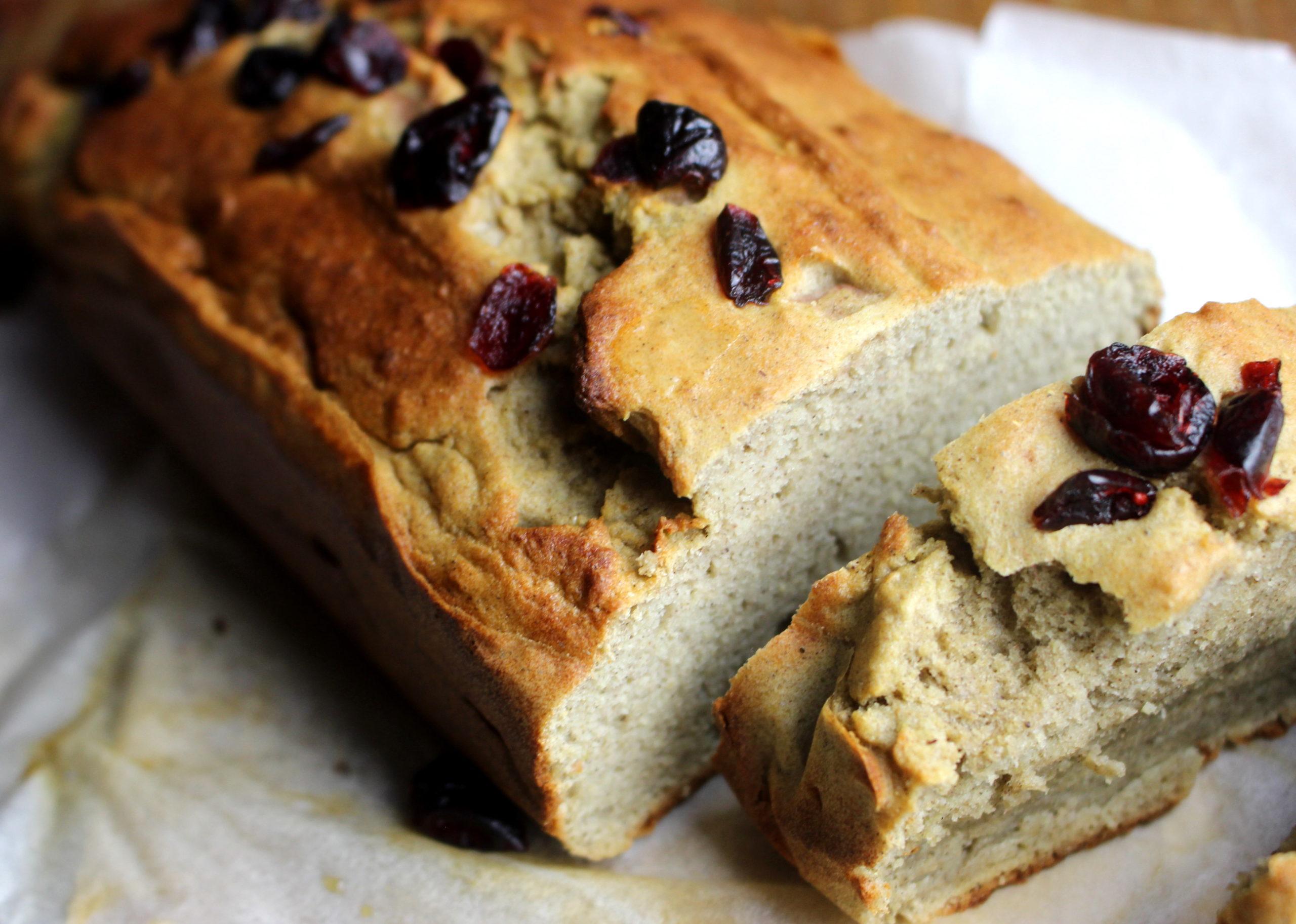 bread cake à la farine de soja clémentine cranberries