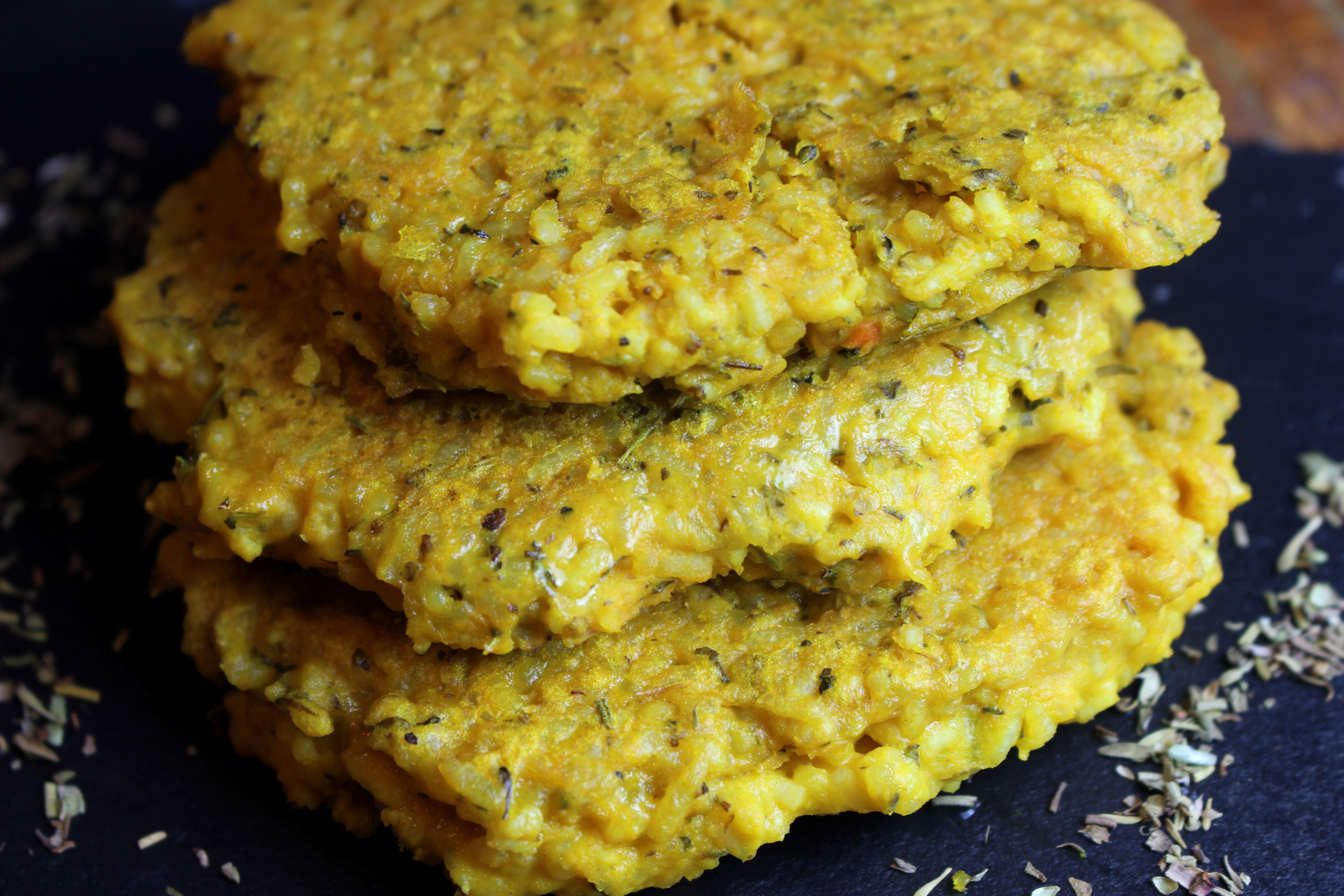 galette de riz au curcuma sans gluten sans lait végétarienne
