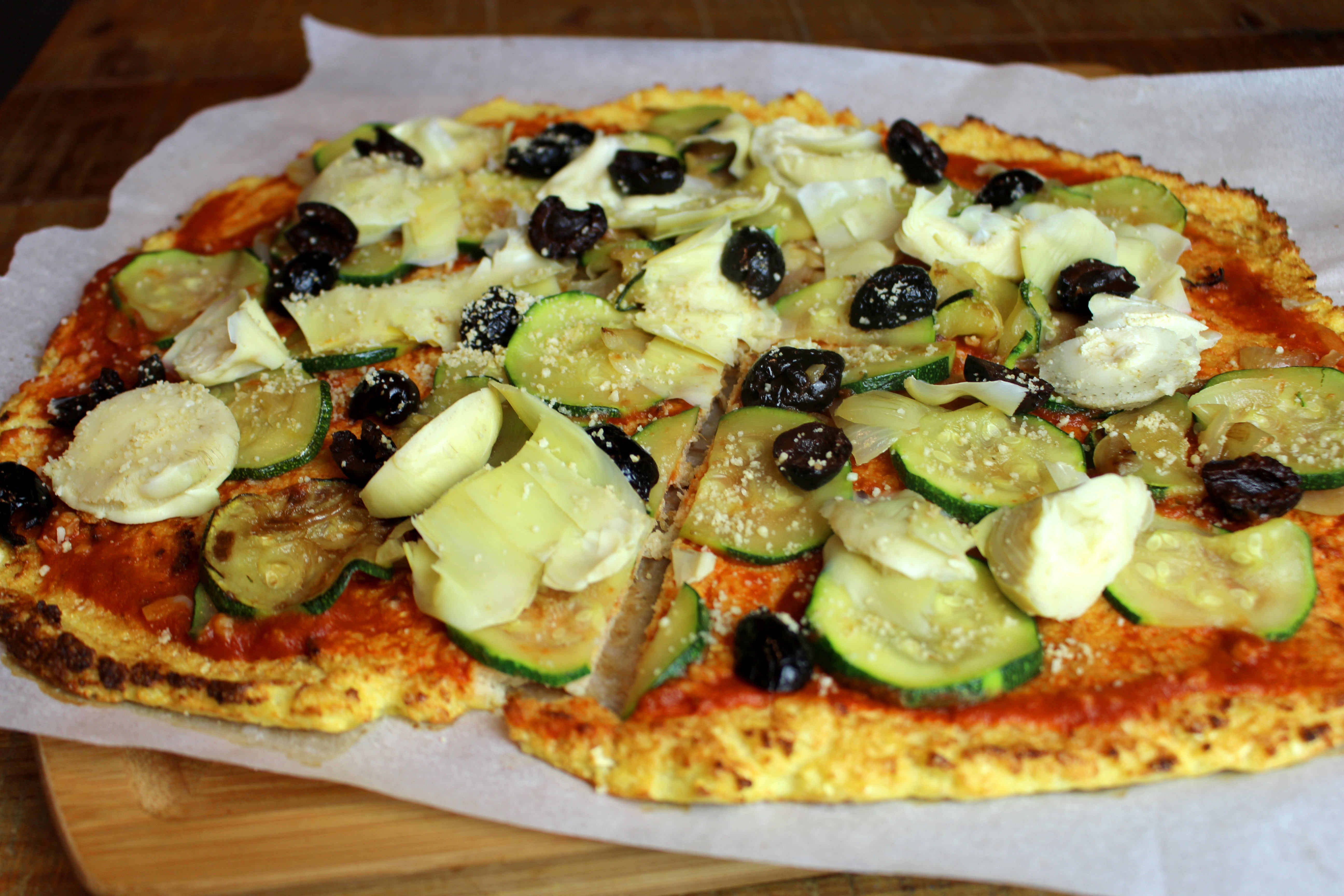 pizza pâte de chou fleur sans gluten sans lait