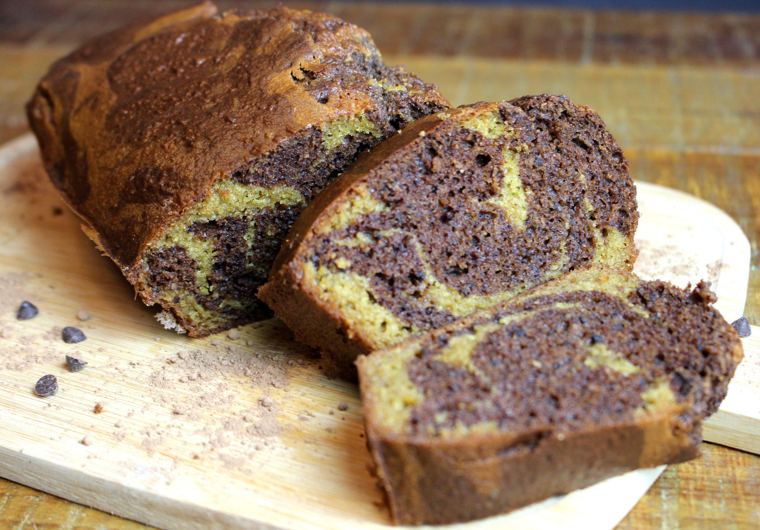 gâteau marbré à la vanille et au chocolat