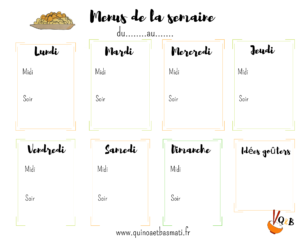 menus de la semaine