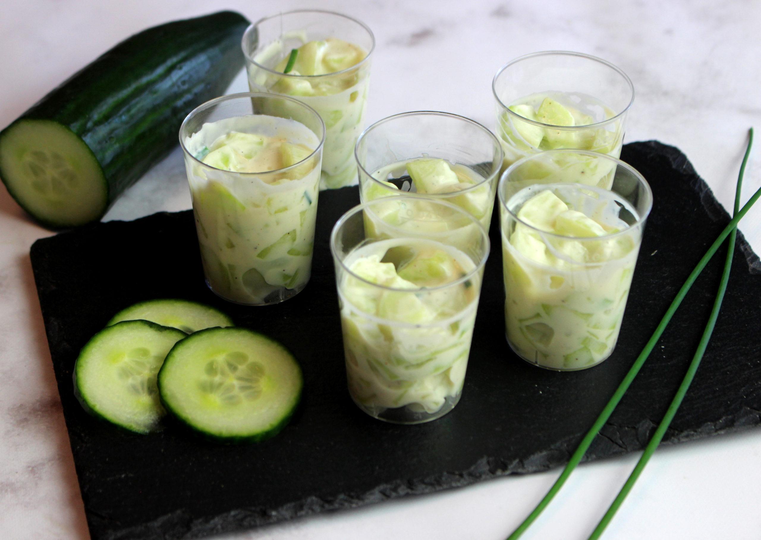verrines concombre yaourt végétal
